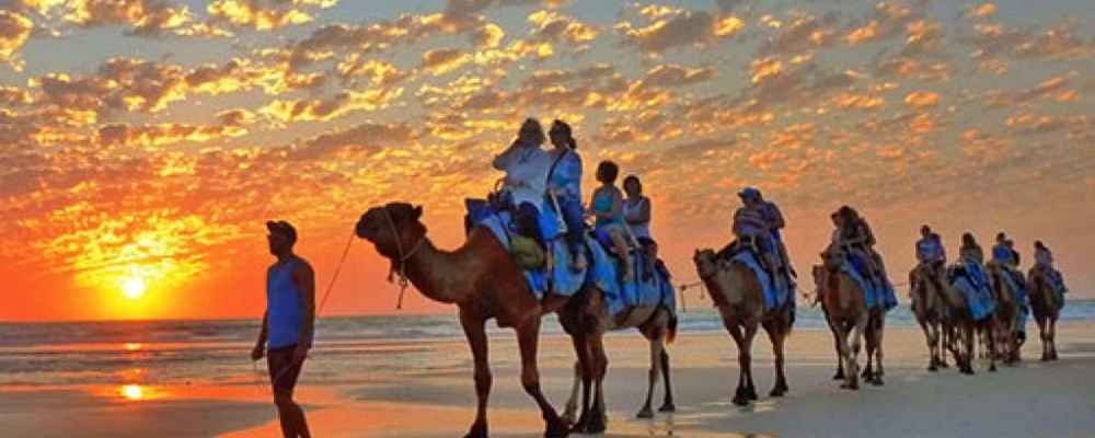 Broome Camel Ride on Cable Beach at Sunset